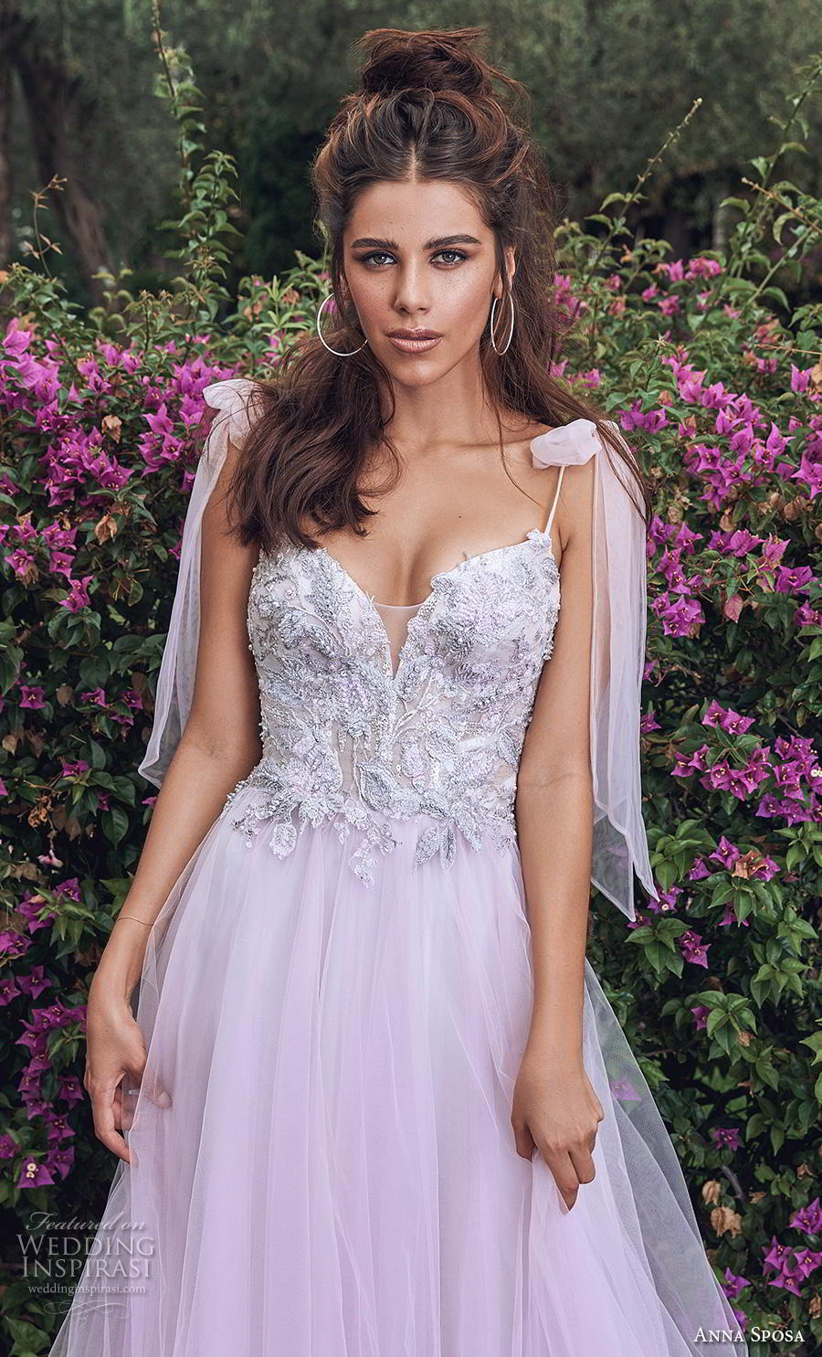 anna sposa 2019 bridal thin ribbon strap sweetheart neckline heavily embellished bodice tulle skirt romantic purple soft a  line wedding dress backless chapel train (7) zv