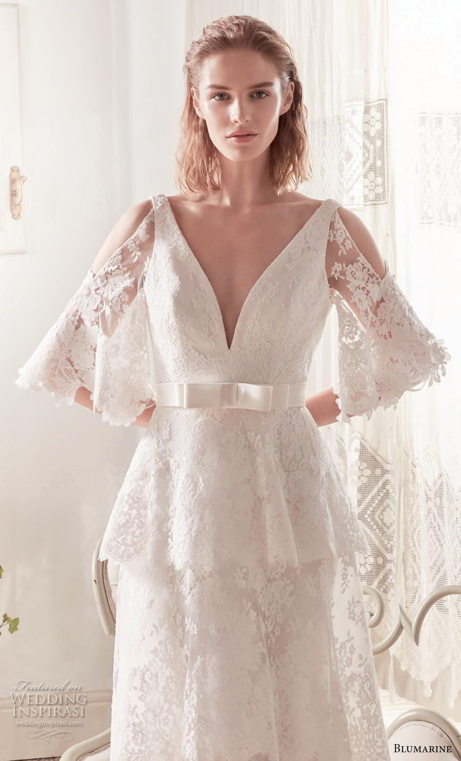 blumarine sposa 2019 bridal cold shoulder half bell sleeves deep v neck full embellishment ribbon belt elegant modified a  line wedding dress v back medium train (19) mv