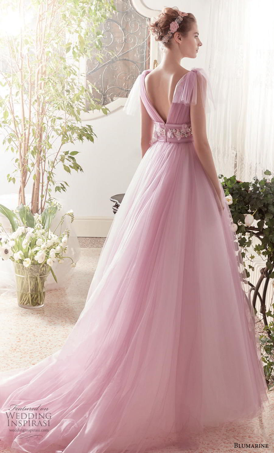 blumarine sposa 2019 bridal handkerchief sleeves v neck ruched bodice romantic pink a  line wedding dress v back chapel train (4) bv