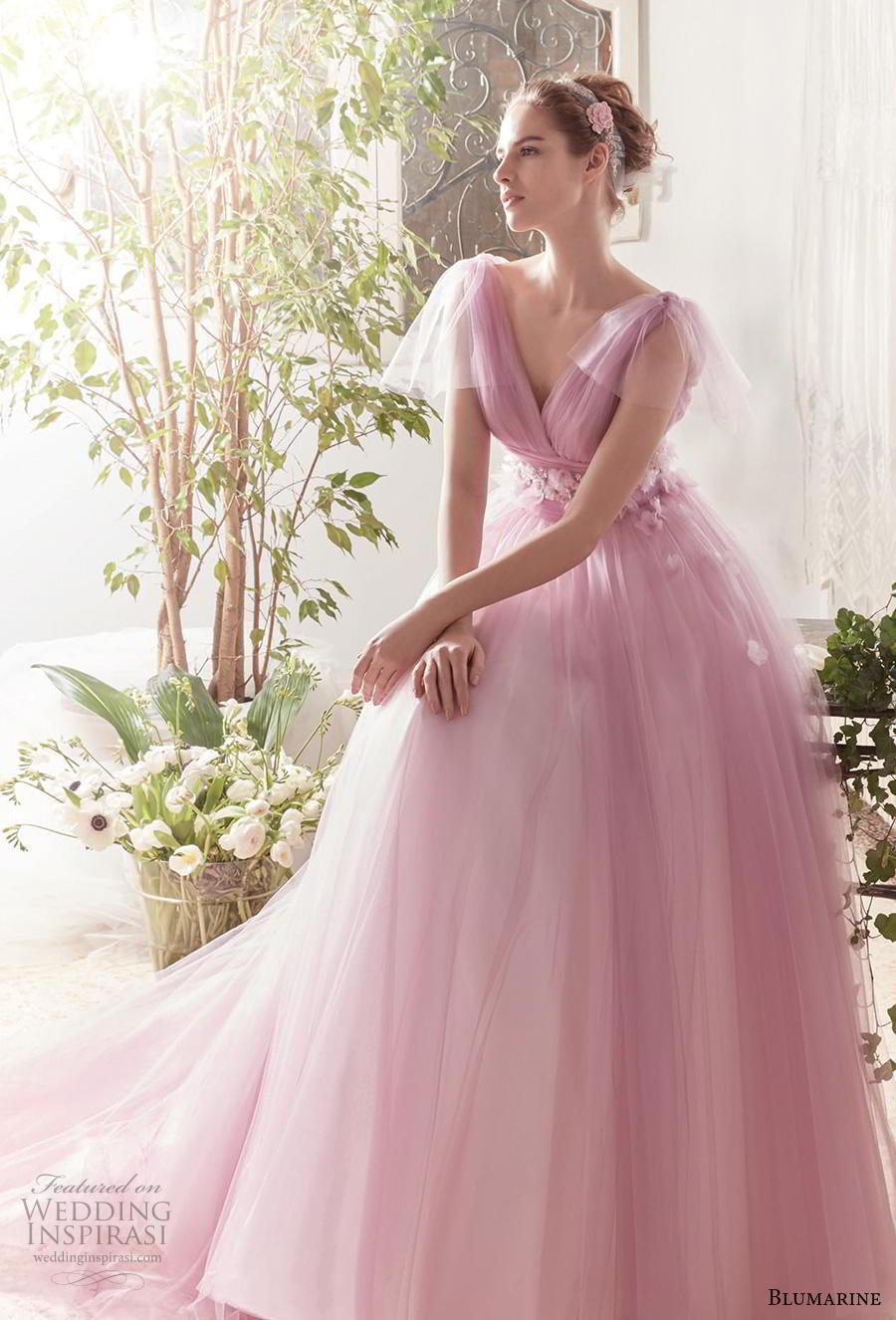 blumarine sposa 2019 bridal handkerchief sleeves v neck ruched bodice romantic pink a  line wedding dress v back chapel train (4) mv