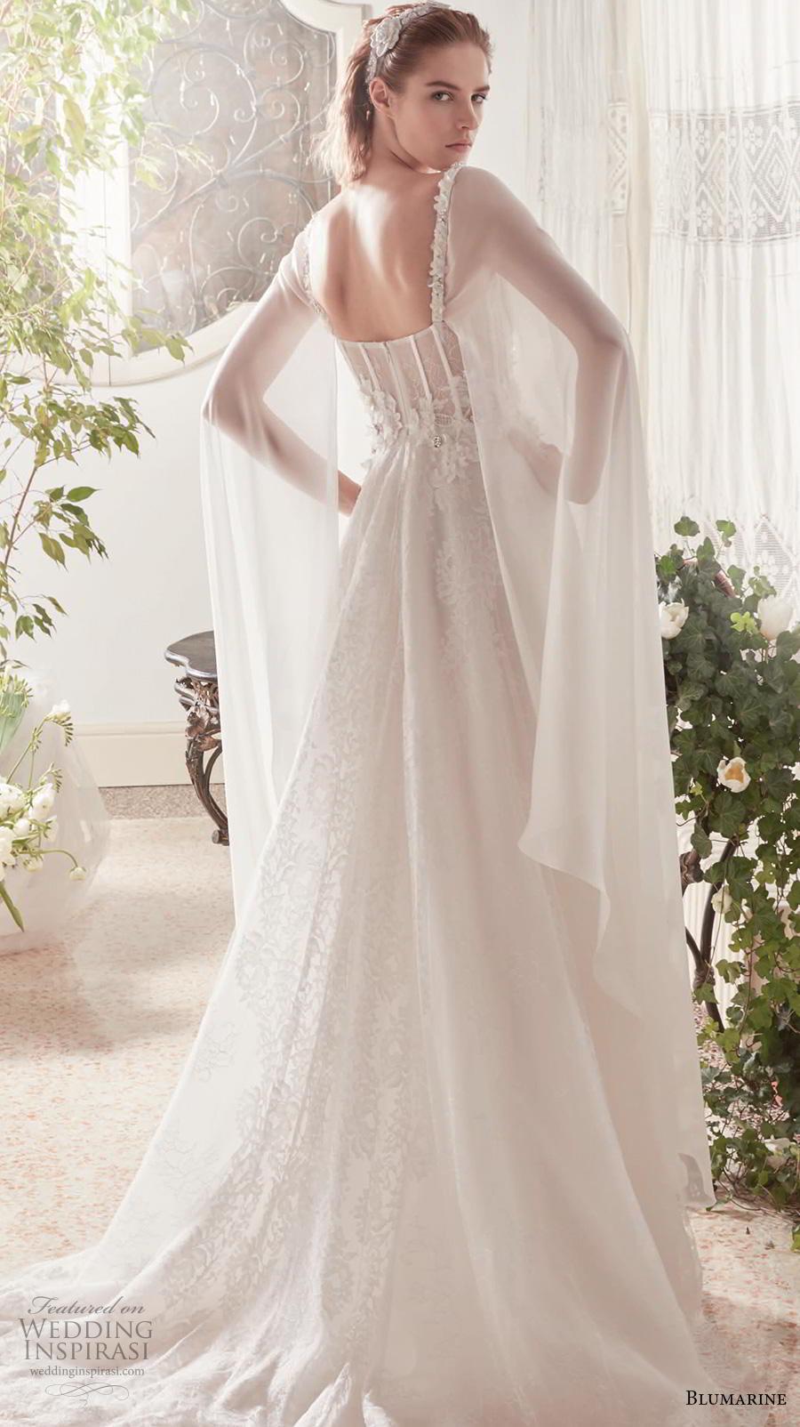 blumarine sposa 2019 bridal hanging sleeves thin strap sweetheart neckline heavily embellished bodice bustier romantic a  line wedding dress medium train (18) bv