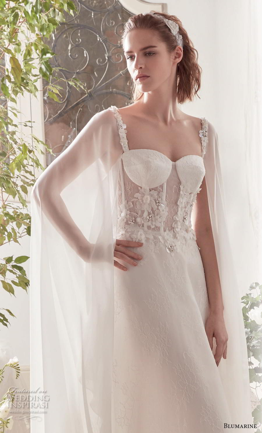 blumarine sposa 2019 bridal hanging sleeves thin strap sweetheart neckline heavily embellished bodice bustier romantic a  line wedding dress medium train (18) mv