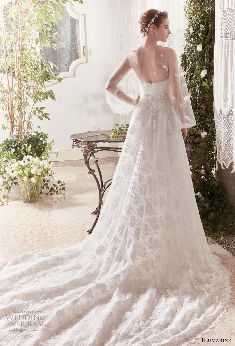 blumarine sposa 2019 bridal long sheer bishop sleeves bolero jacket semi sweetheart neckline full embellishment romantic a  line wedding dress mid back chapel train (15) bv
