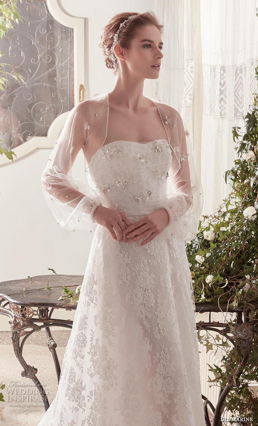 blumarine sposa 2019 bridal long sheer bishop sleeves bolero jacket semi sweetheart neckline full embellishment romantic a  line wedding dress mid back chapel train (15) mv