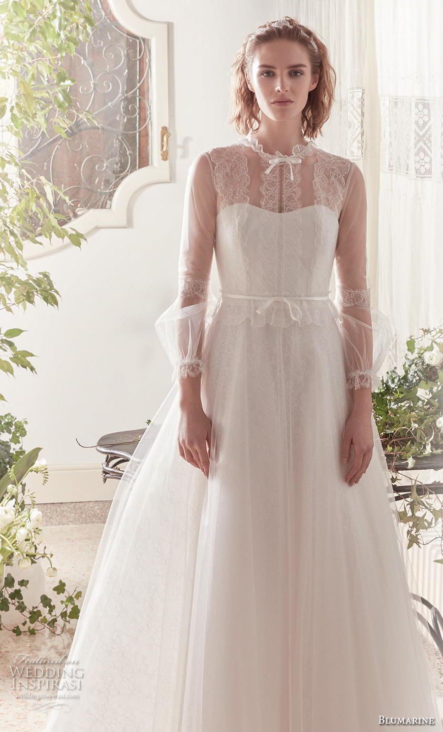 blumarine sposa 2019 bridal long sheer sleeves illusion jewel semi sweetheart neckline simple romantic a  line wedding dress sheer button back medium train (9) mv
