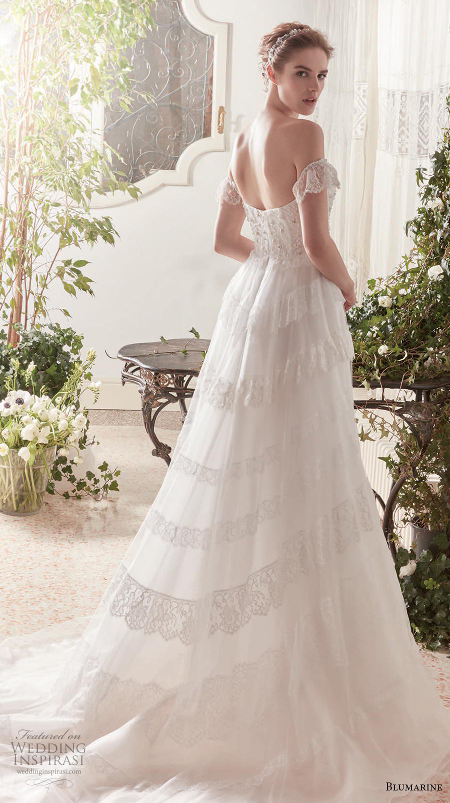 blumarine sposa 2019 bridal off shoulder semi sweetheart neckline heavily embellished bodice romantic a  line wedding dress mid back chapel train (6) bv