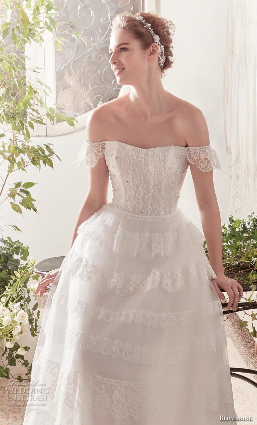 blumarine sposa 2019 bridal off shoulder semi sweetheart neckline heavily embellished bodice romantic a  line wedding dress mid back chapel train (6) mv