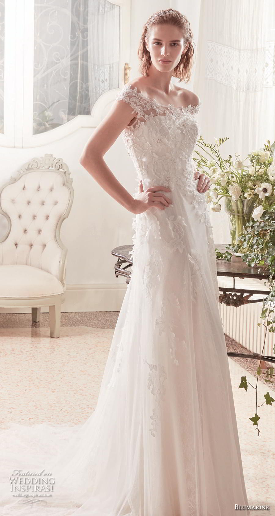 blumarine sposa 2019 bridal off the shoulder bateau neck heavily embelished bodice elegant modified a  line wedding dress lace back chapel train (10) mv