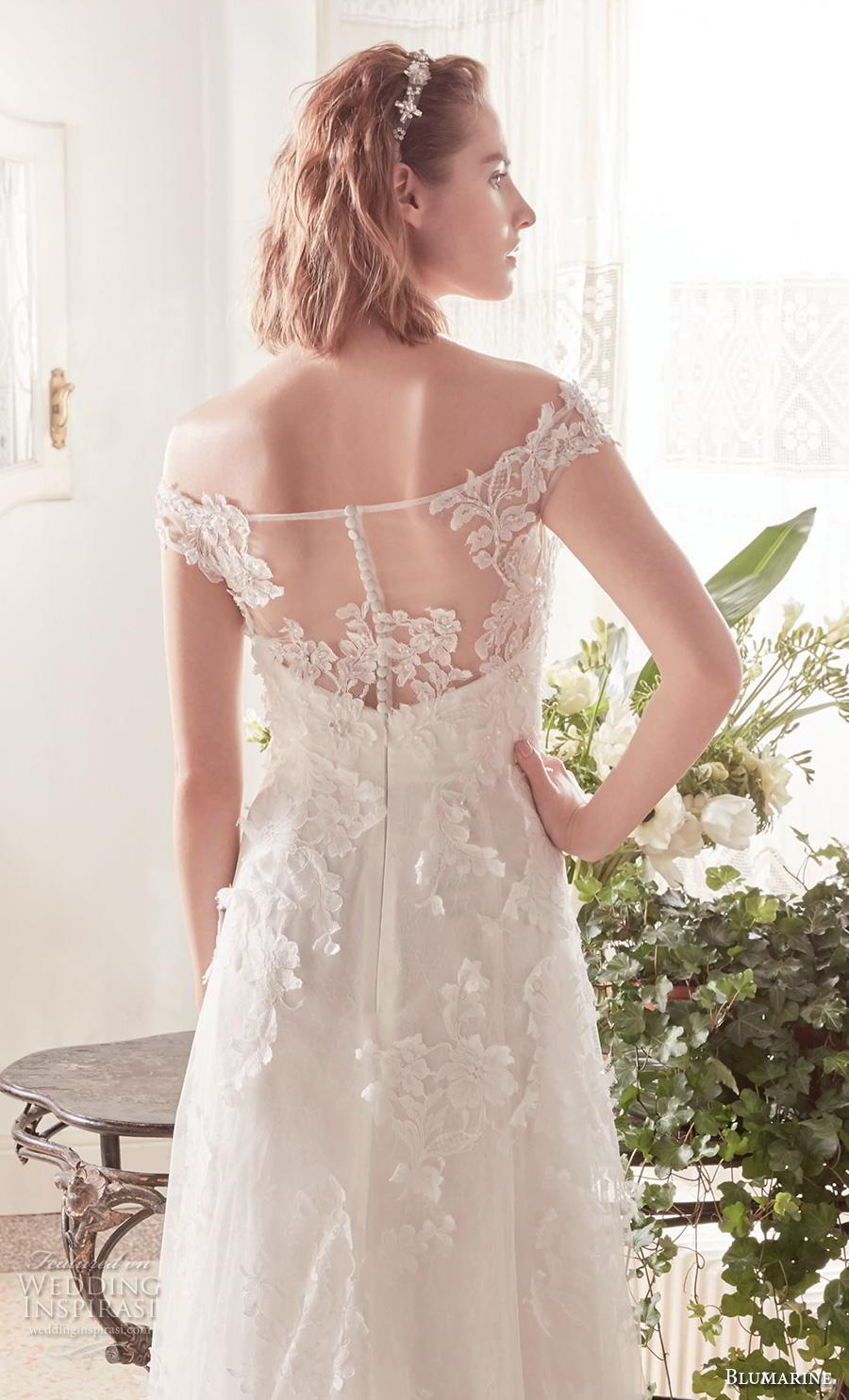 blumarine sposa 2019 bridal off the shoulder bateau neck heavily embelished bodice elegant modified a  line wedding dress lace back chapel train (10) zbv