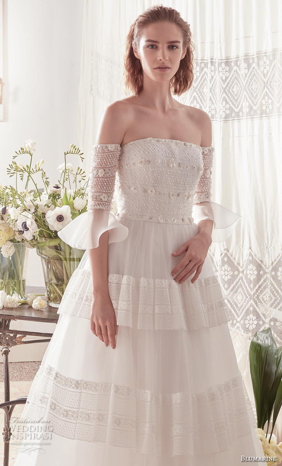 blumarine sposa 2019 bridal off the shoulder half poet sleeves straight across neckline heavily embellished bodice romantic a  line wedding dress mid back chapel train (7) mv