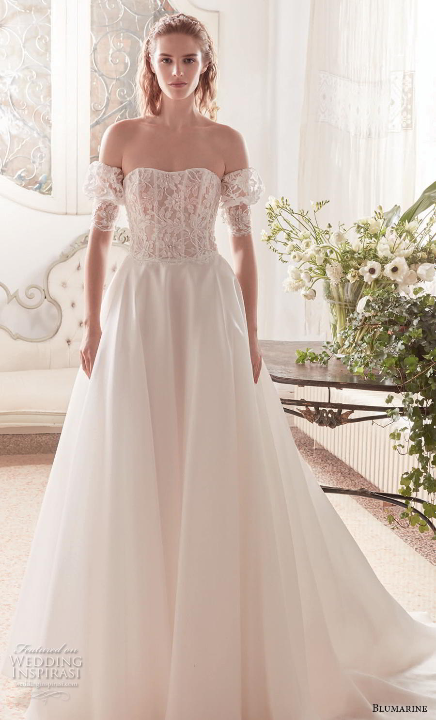 blumarine sposa 2019 bridal off the shoulder half sleeves semi sweetheart neckline heavily embellished bodice romantic a  line wedding dress mid back chapel train (20) mv