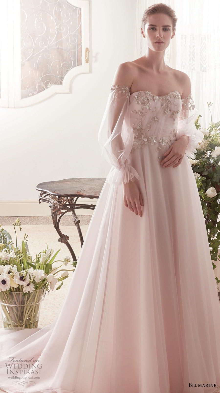 blumarine sposa 2019 bridal off the shoulder long poet sleeves semi sweetheart neckline heavily embellished bodice romantic blush a  line wedding dress backless chapel train (13) mv