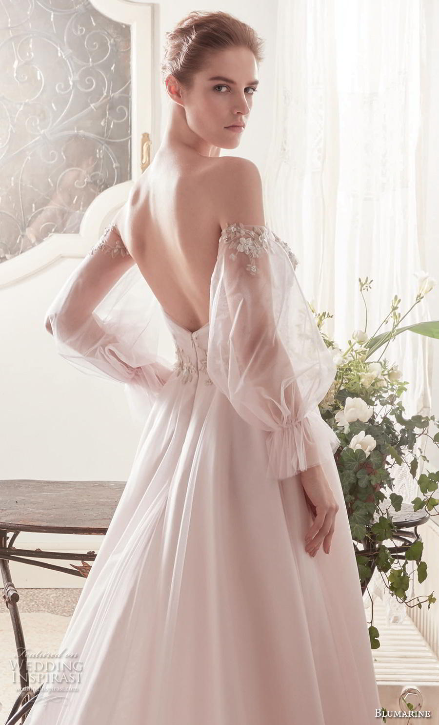 blumarine sposa 2019 bridal off the shoulder long poet sleeves semi sweetheart neckline heavily embellished bodice romantic blush a  line wedding dress backless chapel train (13) zbv