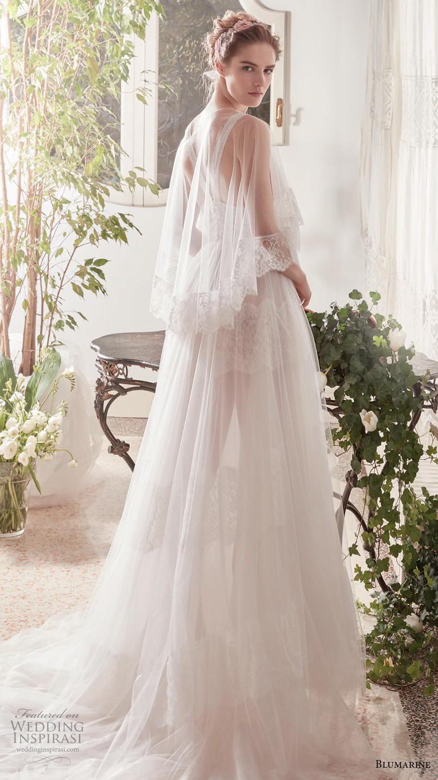 blumarine sposa 2019 bridal sleeveless deep v neck light embellishment romantic bohemian romantic a  line wedding dress bolero strap back chapel train (3) bv