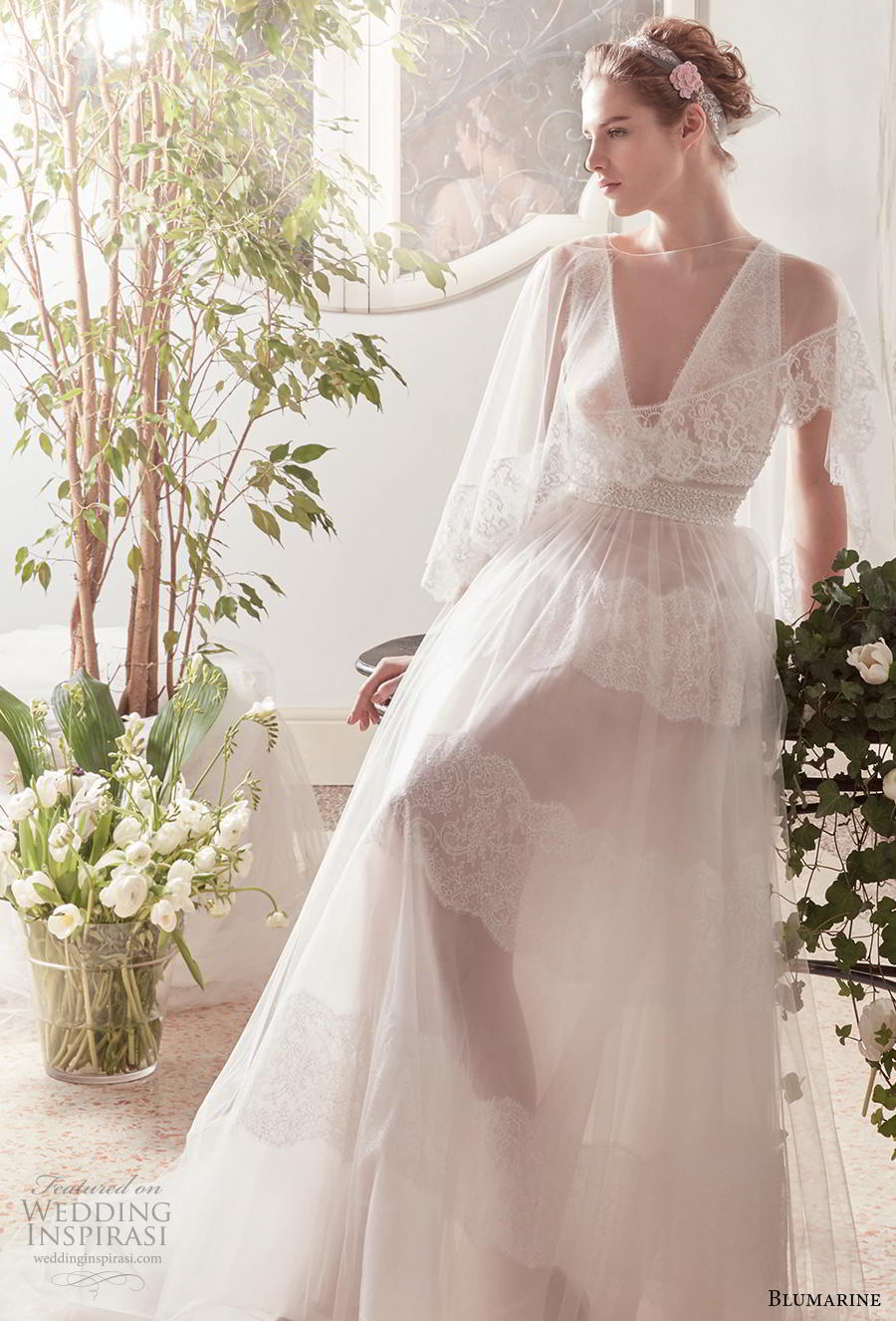 blumarine sposa 2019 bridal sleeveless deep v neck light embellishment romantic bohemian romantic a  line wedding dress bolero strap back chapel train (3) mv