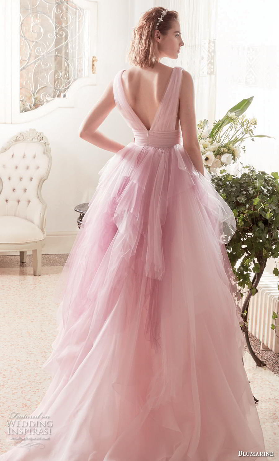blumarine sposa 2019 bridal sleeveless deep v neck ruched bodice tiered tulle skirt romantic pink blush wedding dress v back chapel train (12) bv