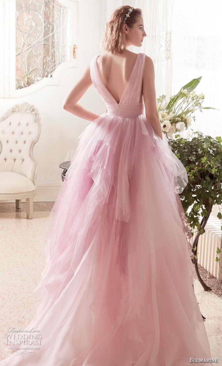 blumarine sposa 2019 bridal sleeveless deep v neck ruched bodice tiered tulle skirt romantic pink blush wedding dress v back chapel train (12) bv