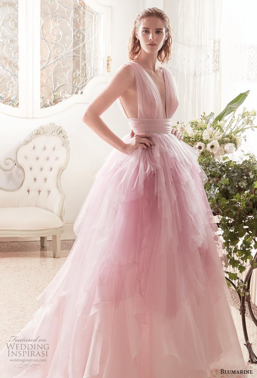 blumarine sposa 2019 bridal sleeveless deep v neck ruched bodice tiered tulle skirt romantic pink blush wedding dress v back chapel train (12) mv