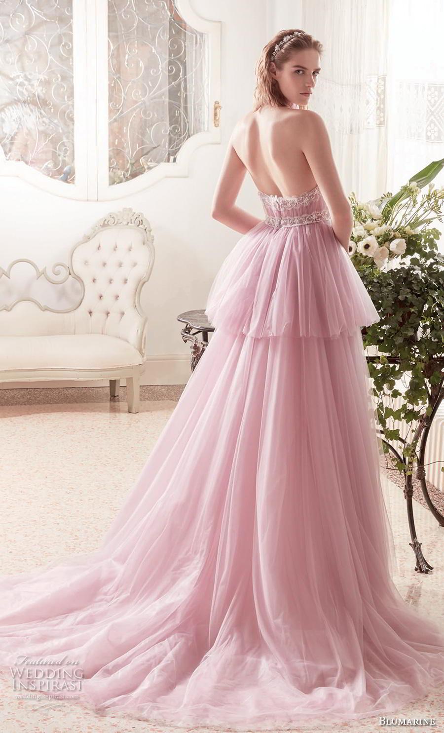 blumarine sposa 2019 bridal sleeveless halter neck ruched bodice tiered skirt romantic pink a  line wedding dress backless medium train (17) bv