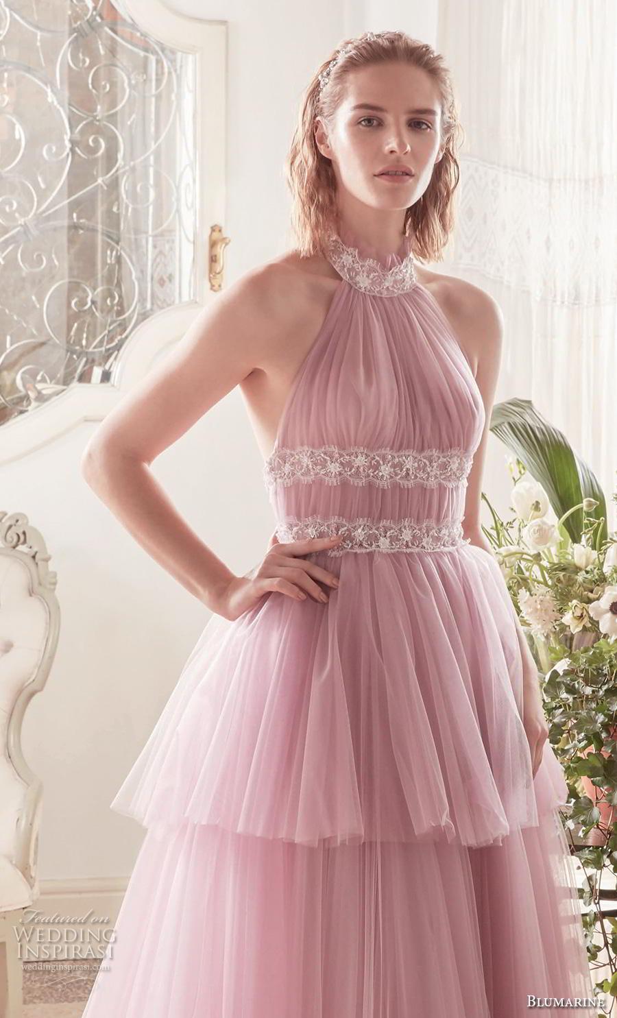 blumarine sposa 2019 bridal sleeveless halter neck ruched bodice tiered skirt romantic pink a  line wedding dress backless medium train (17) mv