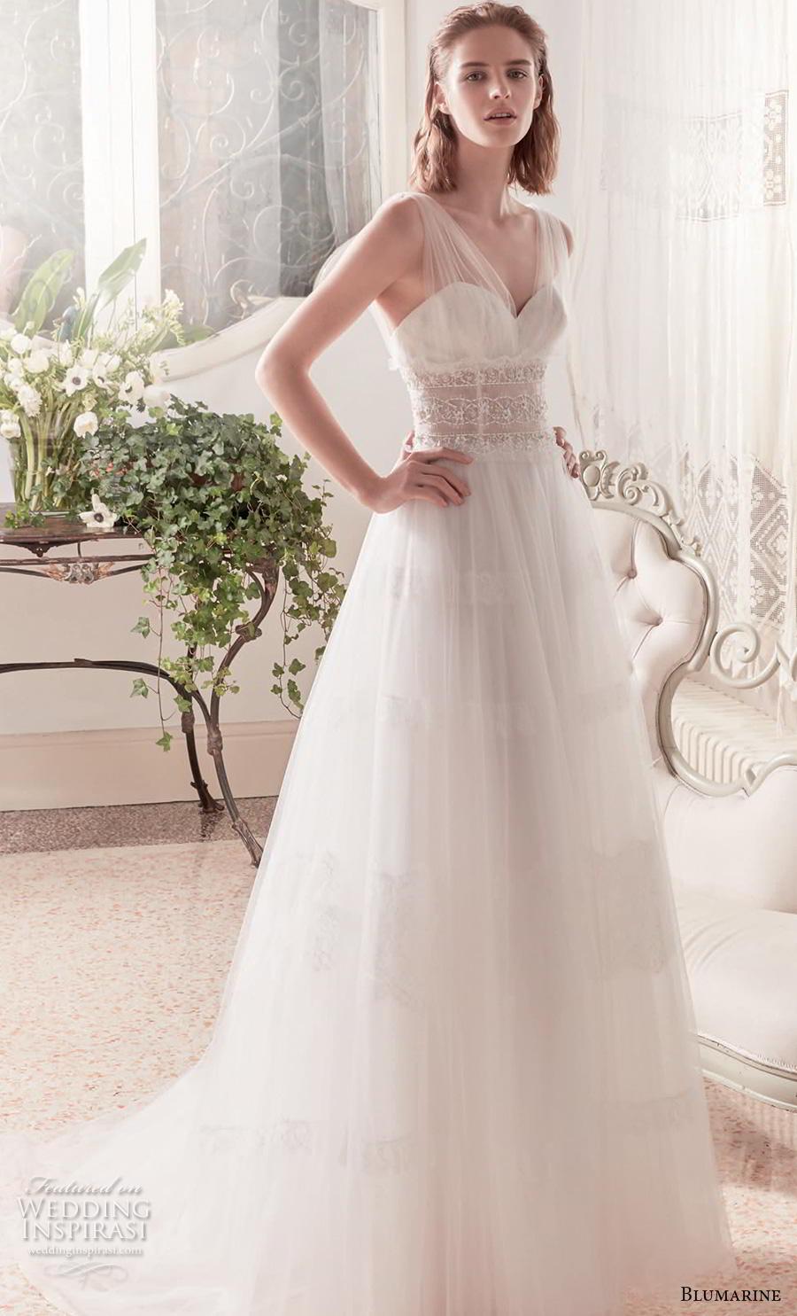 blumarine sposa 2019 bridal sleeveless sheer strap sweetheart neckline lightly embellished bodice romantic a  line wedding dress v back chapel train (21) mv