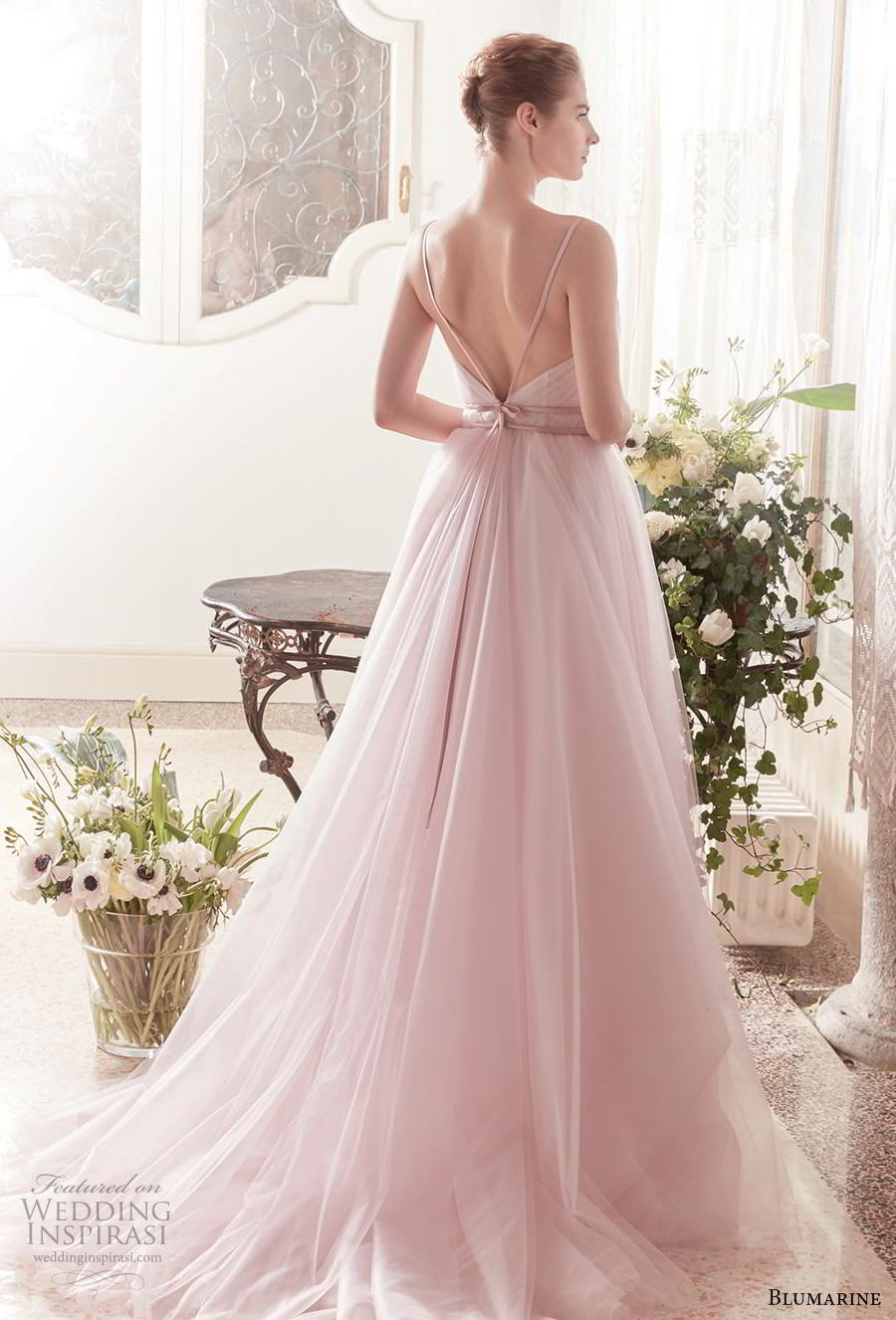 blumarine sposa 2019 bridal sleeveless thin strap sweetheart neckline ruched bodice tulle skirt romantic pink a  linw wedding dress open v back medium train (1) bv