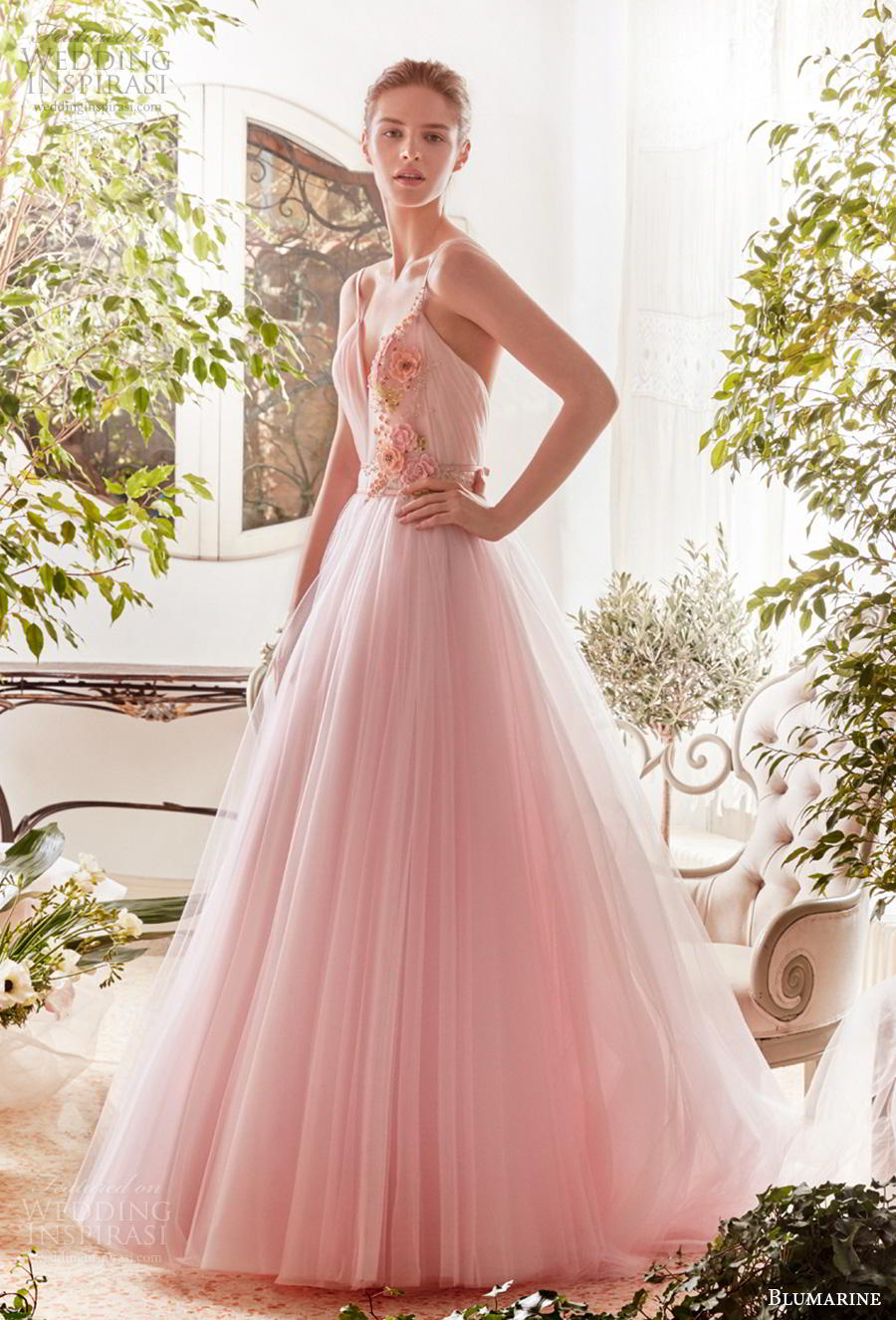 blumarine sposa 2019 bridal sleeveless thin strap sweetheart neckline ruched bodice tulle skirt romantic pink a  linw wedding dress open v back medium train (1) mv