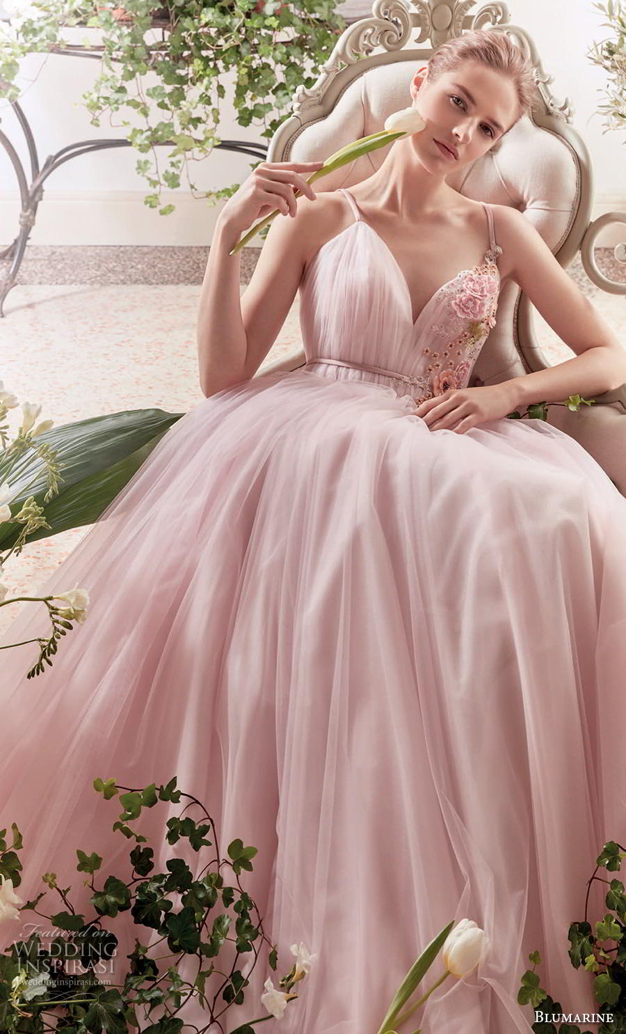 blumarine sposa 2019 bridal sleeveless thin strap sweetheart neckline ruched bodice tulle skirt romantic pink a  linw wedding dress open v back medium train (1) zv