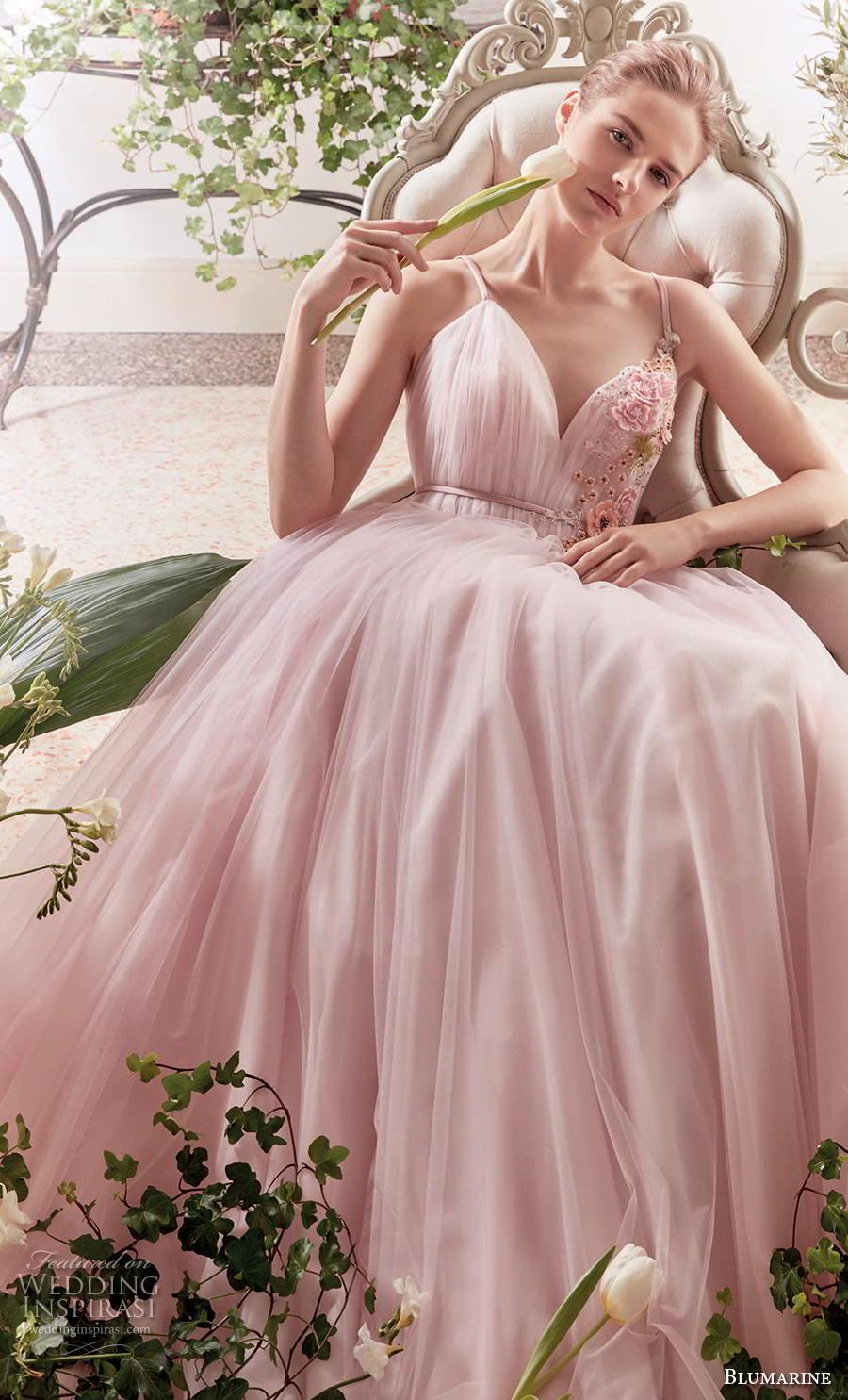 blumarine sposa 2019 bridal sleeveless thin strap sweetheart neckline ruched bodice tulle skirt romantic pink a  linw wedding dress open v back medium train (1) zv