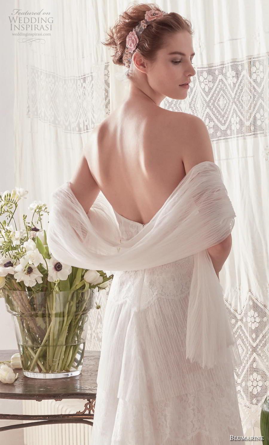 blumarine sposa 2019 bridal strapless semi sweetheart neckline light embellishment tiered skirt romantic modified a  line wedding dress backless medium train (14) bv