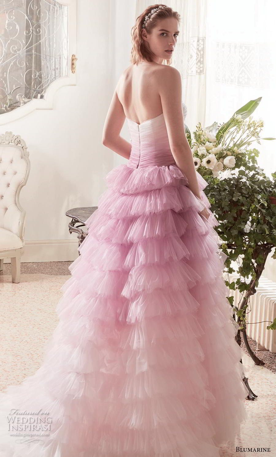 blumarine sposa 2019 bridal strapless straight across neckline ruched bodice ruffled skirt ombre pink ball gown wedding dress mid back chapel train (8) bv