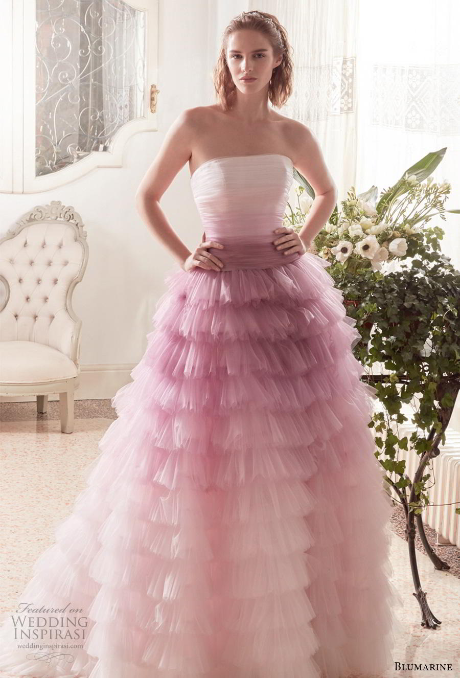 blumarine sposa 2019 bridal strapless straight across neckline ruched bodice ruffled skirt ombre pink ball gown wedding dress mid back chapel train (8) fv