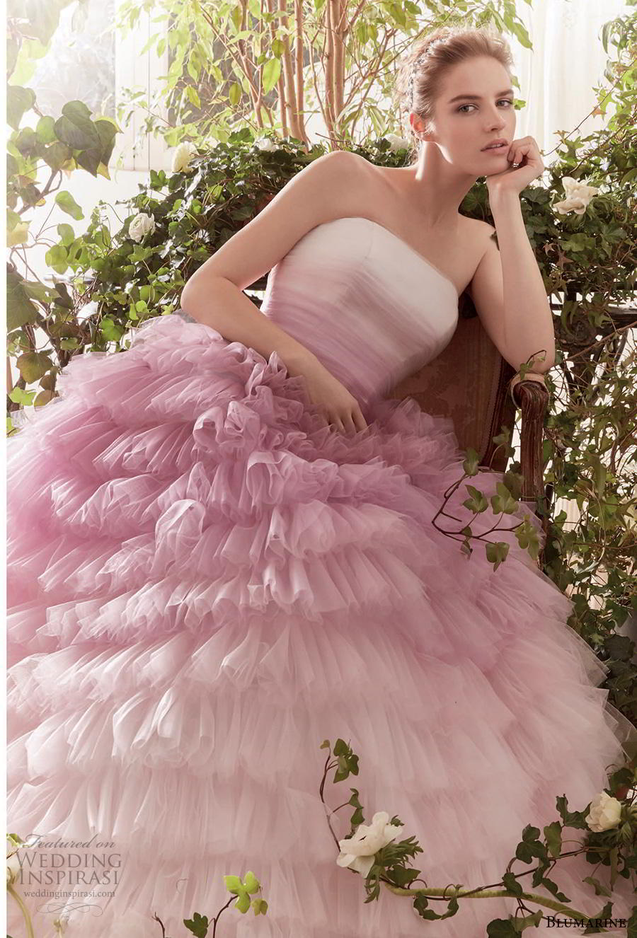 blumarine sposa 2019 bridal strapless straight across neckline ruched bodice ruffled skirt ombre pink ball gown wedding dress mid back chapel train (8) mv