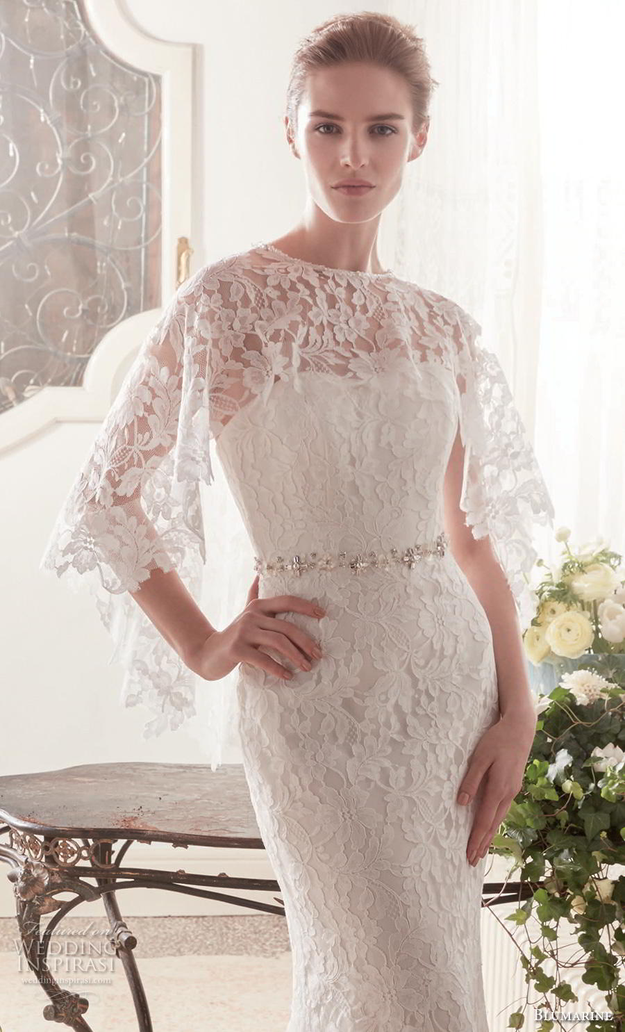 blumarine sposa 2019 bridal strapless sweetheart neckline full embellishment elegant fit and flare wedding dress bolero mid back sweep train (2) zv