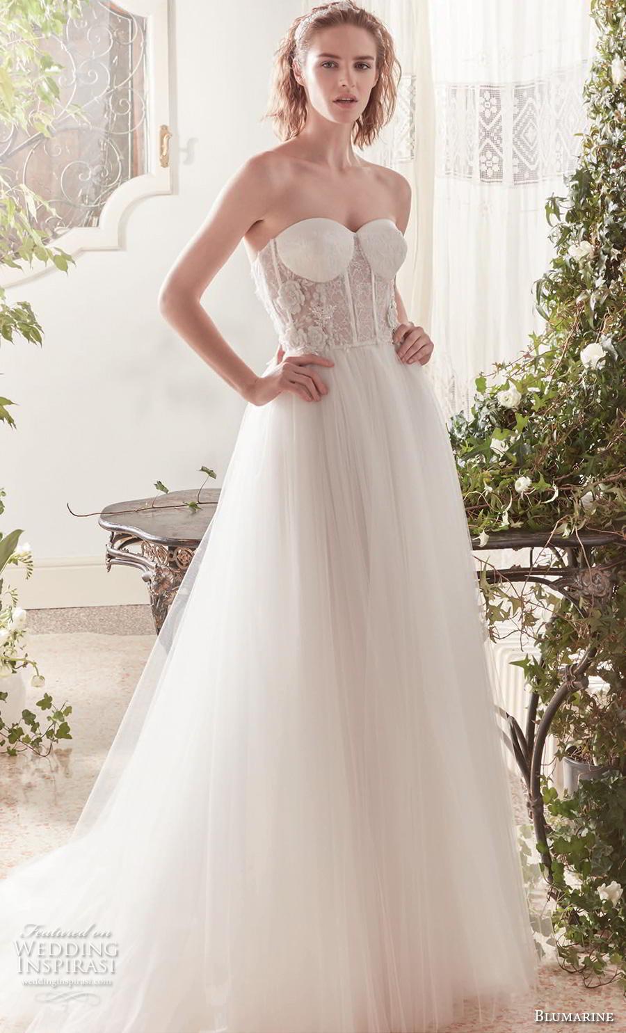 blumarine sposa 2019 bridal strapless sweetheart neckline heavily embellished bodice bustier tulle skirt romantic a  line wedding dress mid back sweep train (16) mv