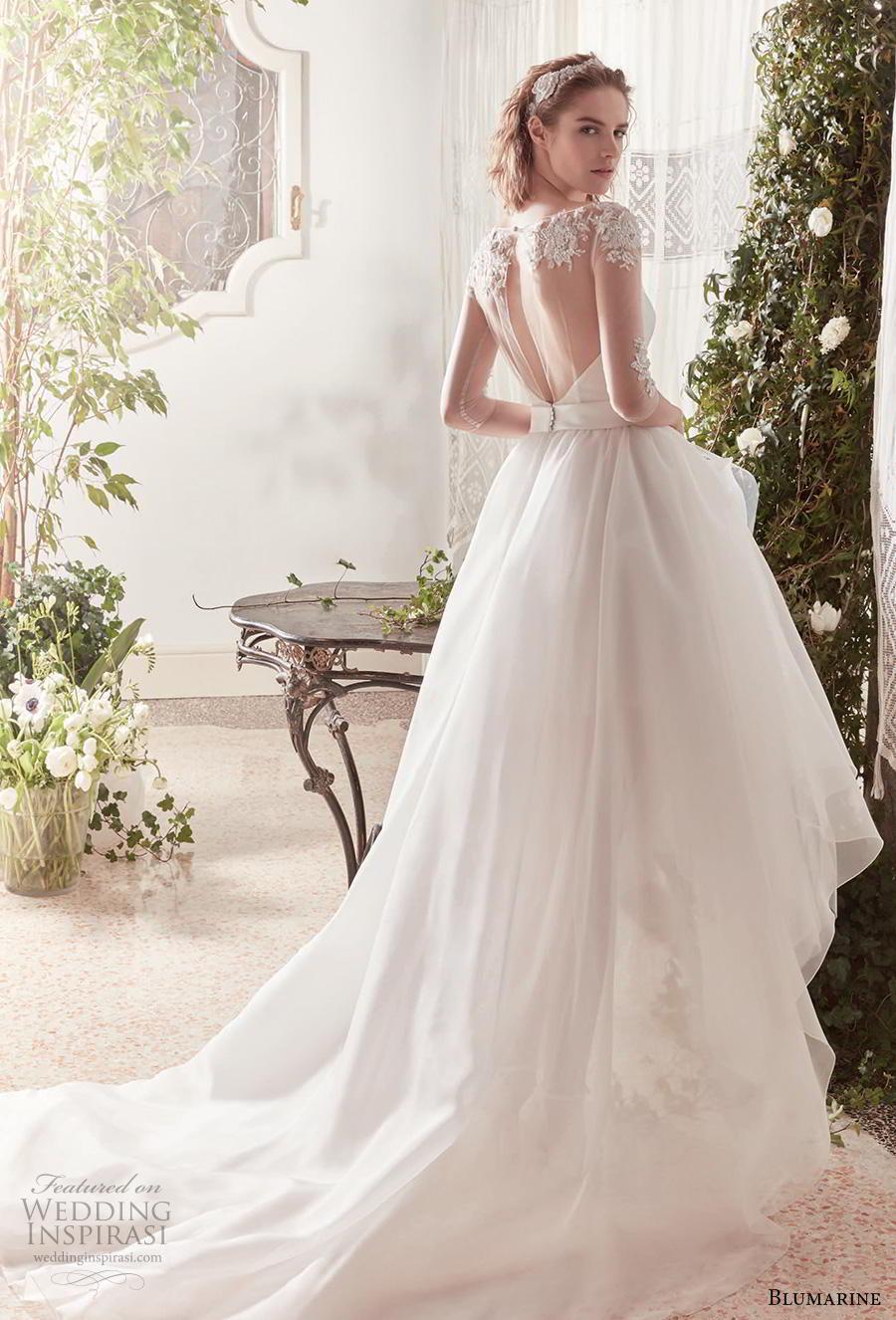 blumarine sposa 2019 bridal three quarter sleeves illusion bateau sweetheart neckline simple romantic high low a  line wedding dress sheer back chapel train (11) bv