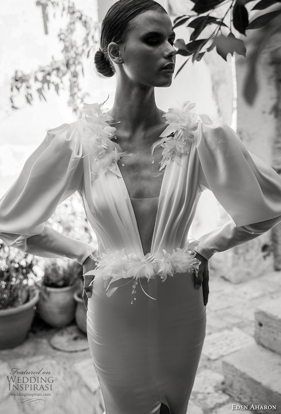 eden aharon 2019 bridal long leg of mutton sleeves deep v neck ruched bodice simple elegant sheath wedding dress (12) zv mv