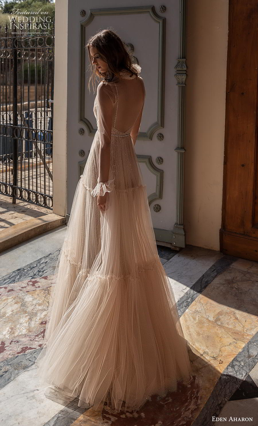 eden aharon 2019 bridal long poet sleeves deep plunging v neck full embellishment romantic blush a  line wedding dress backless scoop back sweep train (7) bv