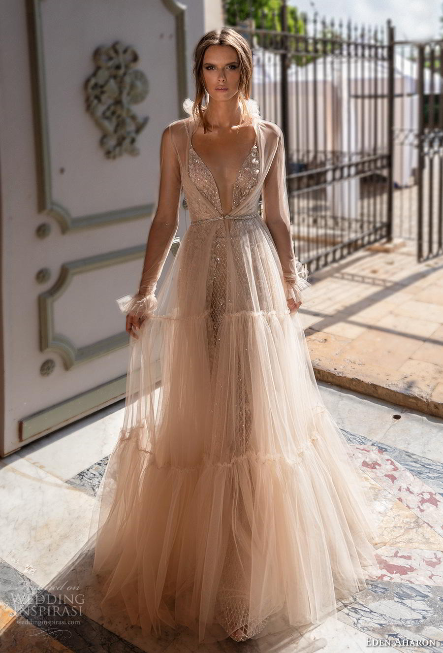 eden aharon 2019 bridal long poet sleeves deep plunging v neck full embellishment romantic blush a  line wedding dress backless scoop back sweep train (7) mv