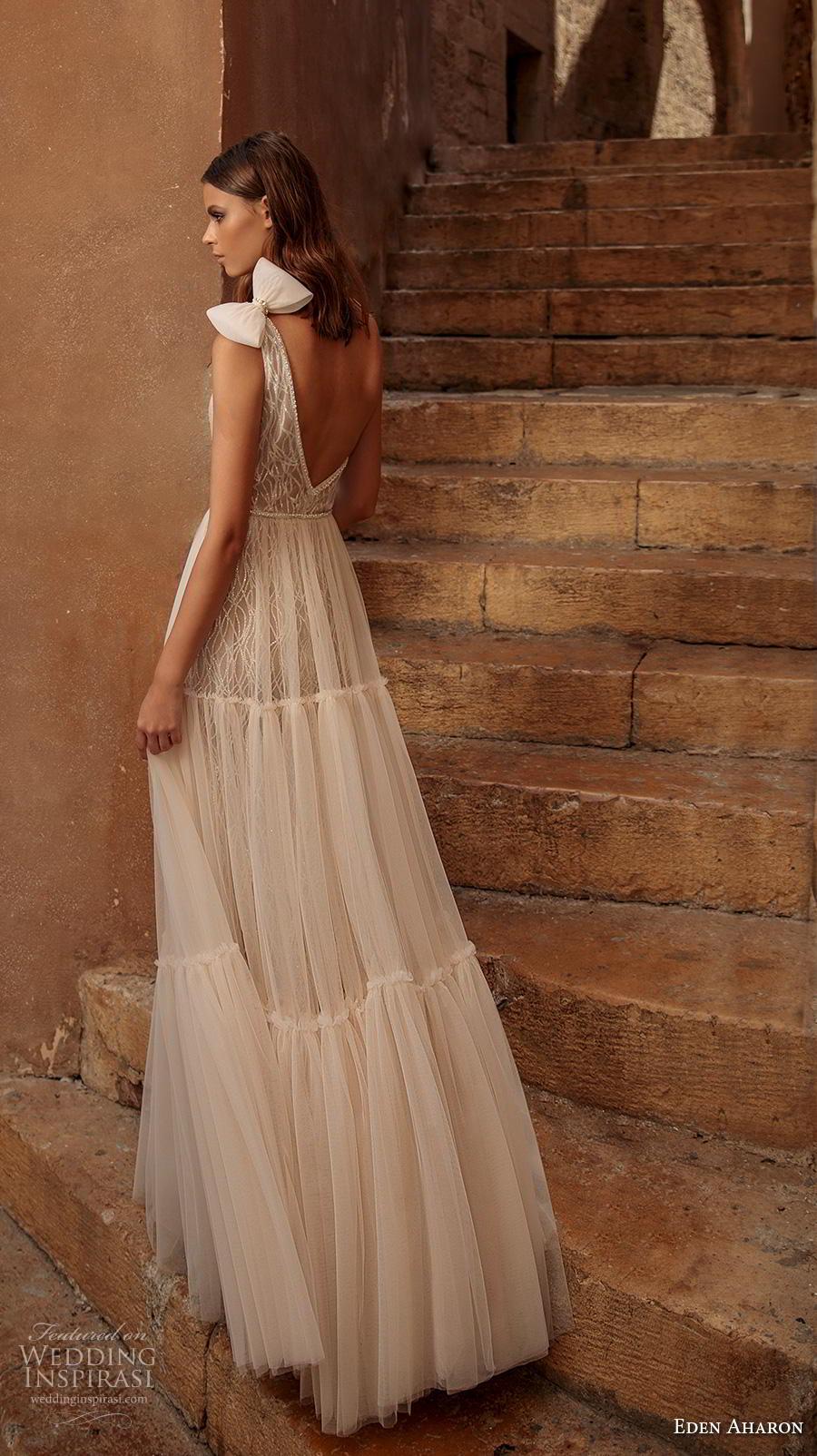 eden aharon 2019 bridal one shoulder full embellishment slit skirt boho chic a  line wedding dress backless sweep train (6) bv
