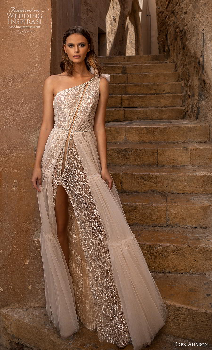 eden aharon 2019 bridal one shoulder full embellishment slit skirt boho chic a  line wedding dress backless sweep train (6) mv