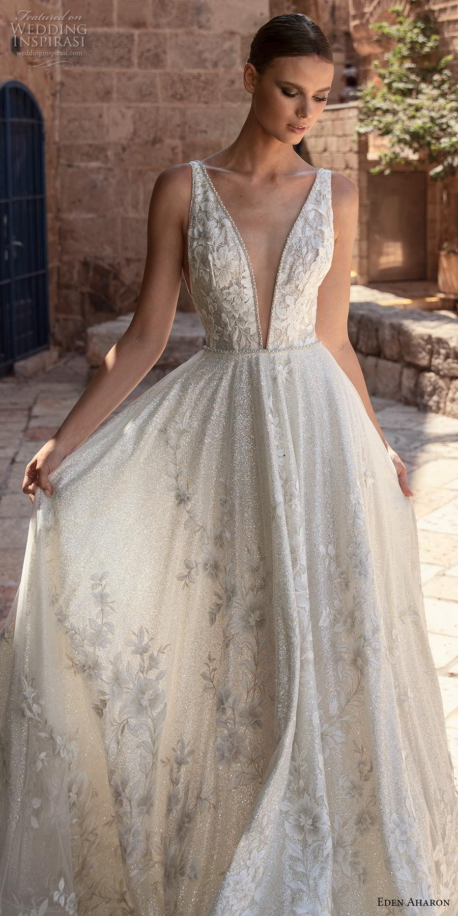 eden aharon 2019 bridal sleeveless deep plunging v neck full embellishment romantic soft a  line wedding dress (4) lv