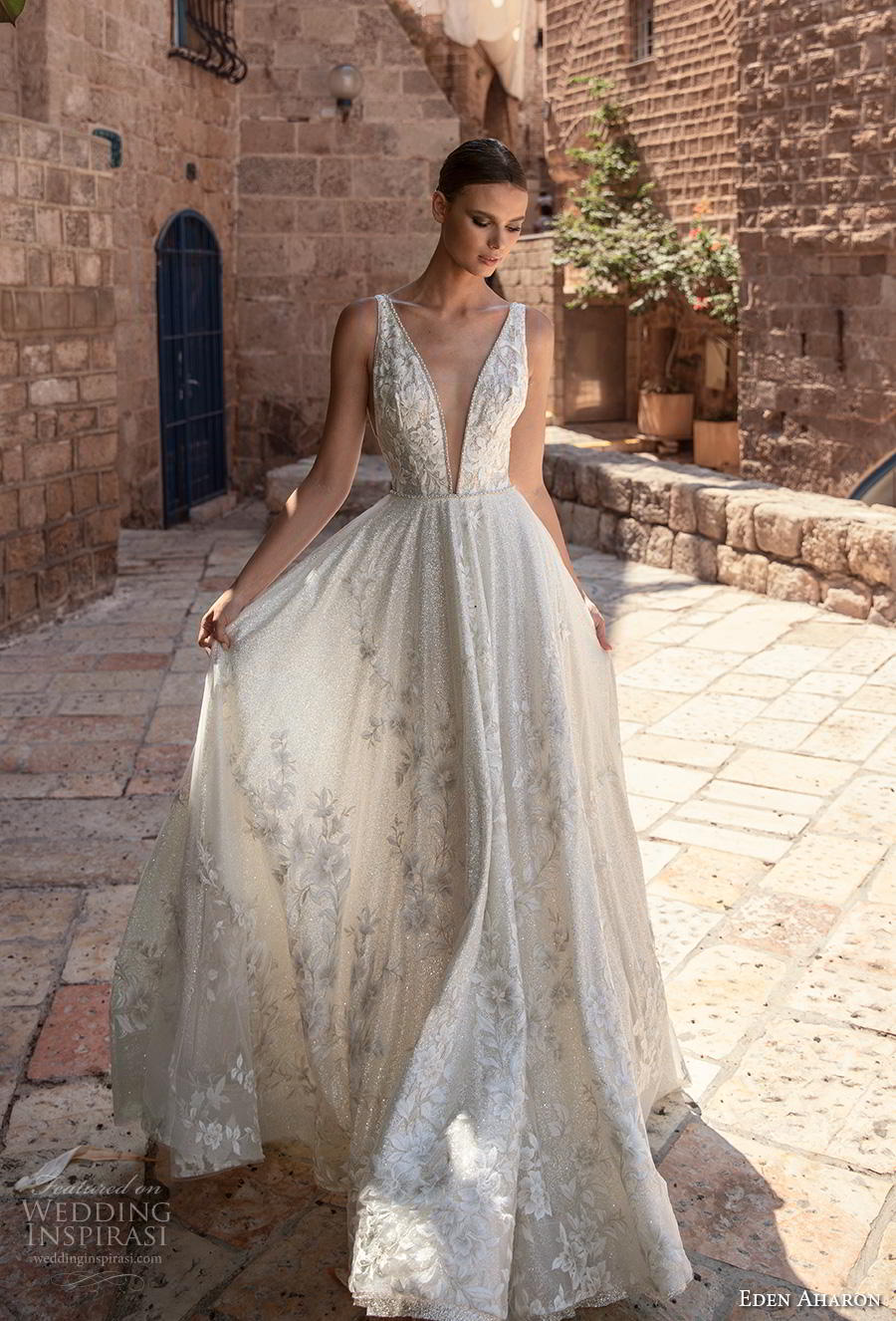 eden aharon 2019 bridal sleeveless deep plunging v neck full embellishment romantic soft a  line wedding dress (4) mv