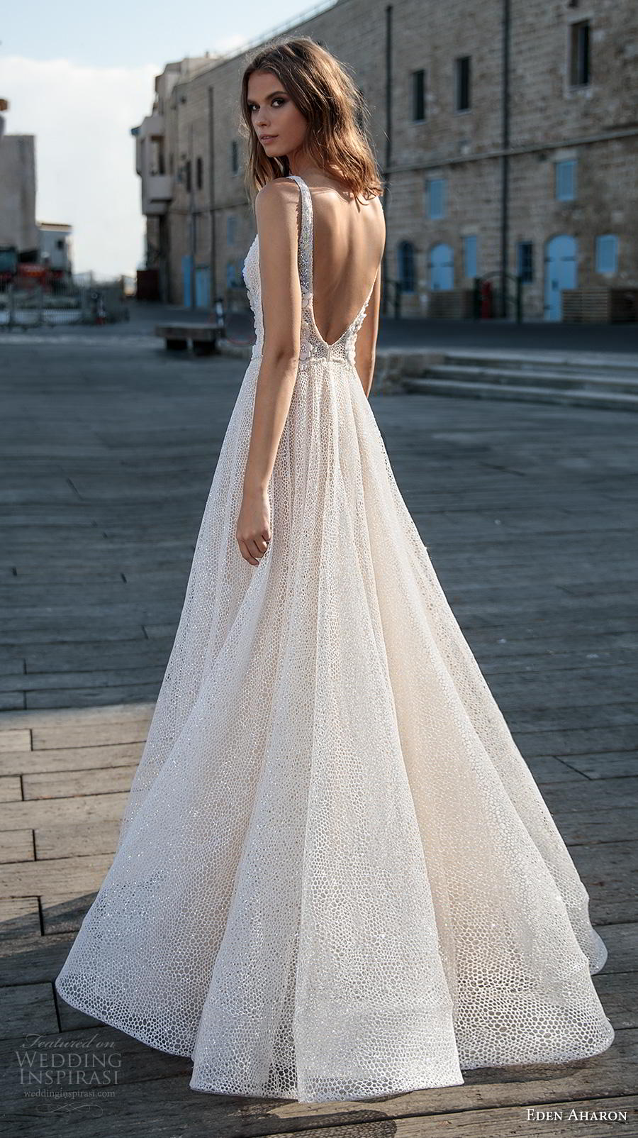 eden aharon 2019 bridal sleeveless deep plunging v neck full embellishment romantic soft a  line wedding dress backless v back sweep train (3) bv