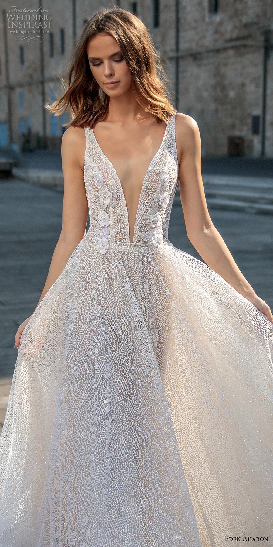 eden aharon 2019 bridal sleeveless deep plunging v neck full embellishment romantic soft a  line wedding dress backless v back sweep train (3) lv