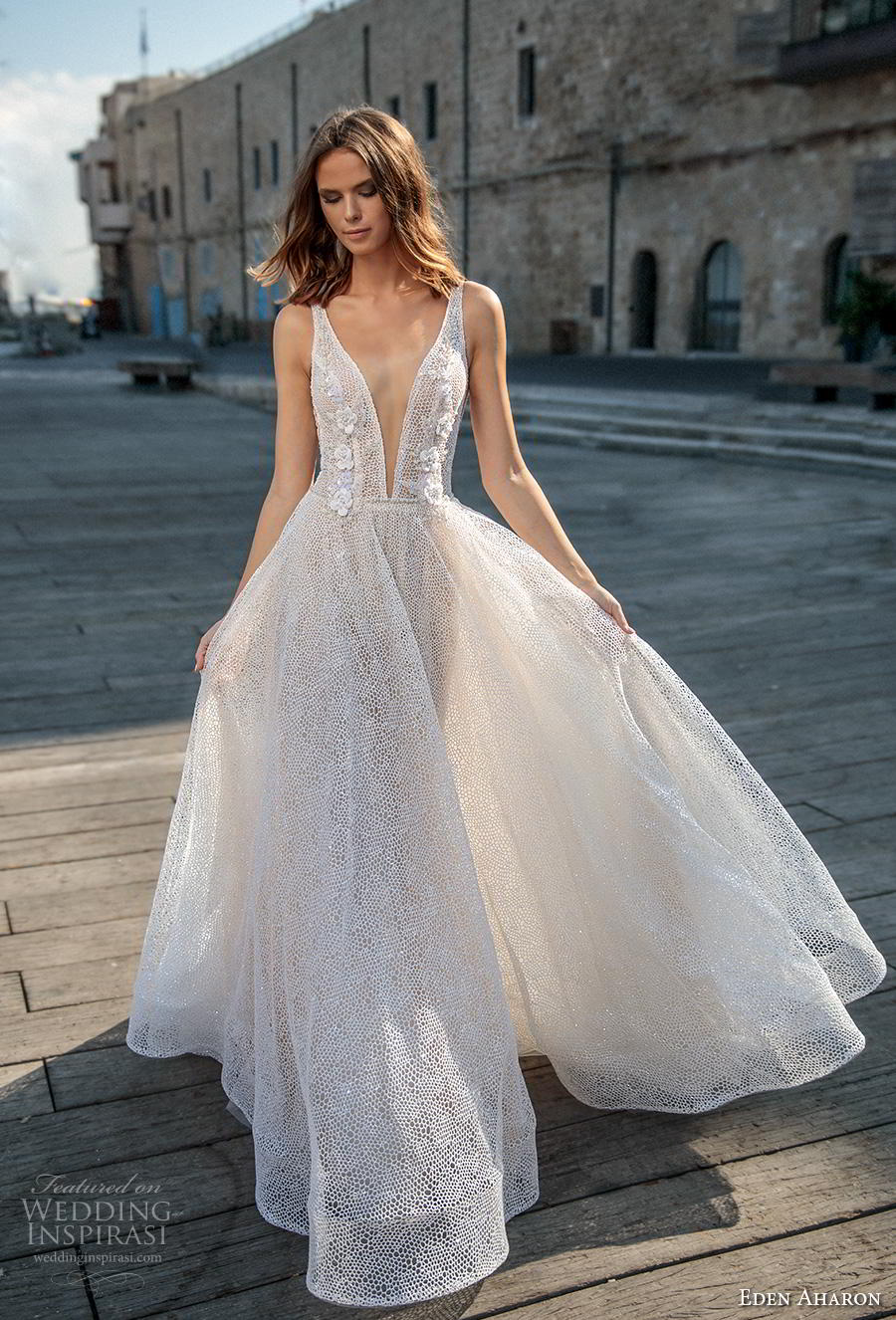 eden aharon 2019 bridal sleeveless deep plunging v neck full embellishment romantic soft a  line wedding dress backless v back sweep train (3) mv