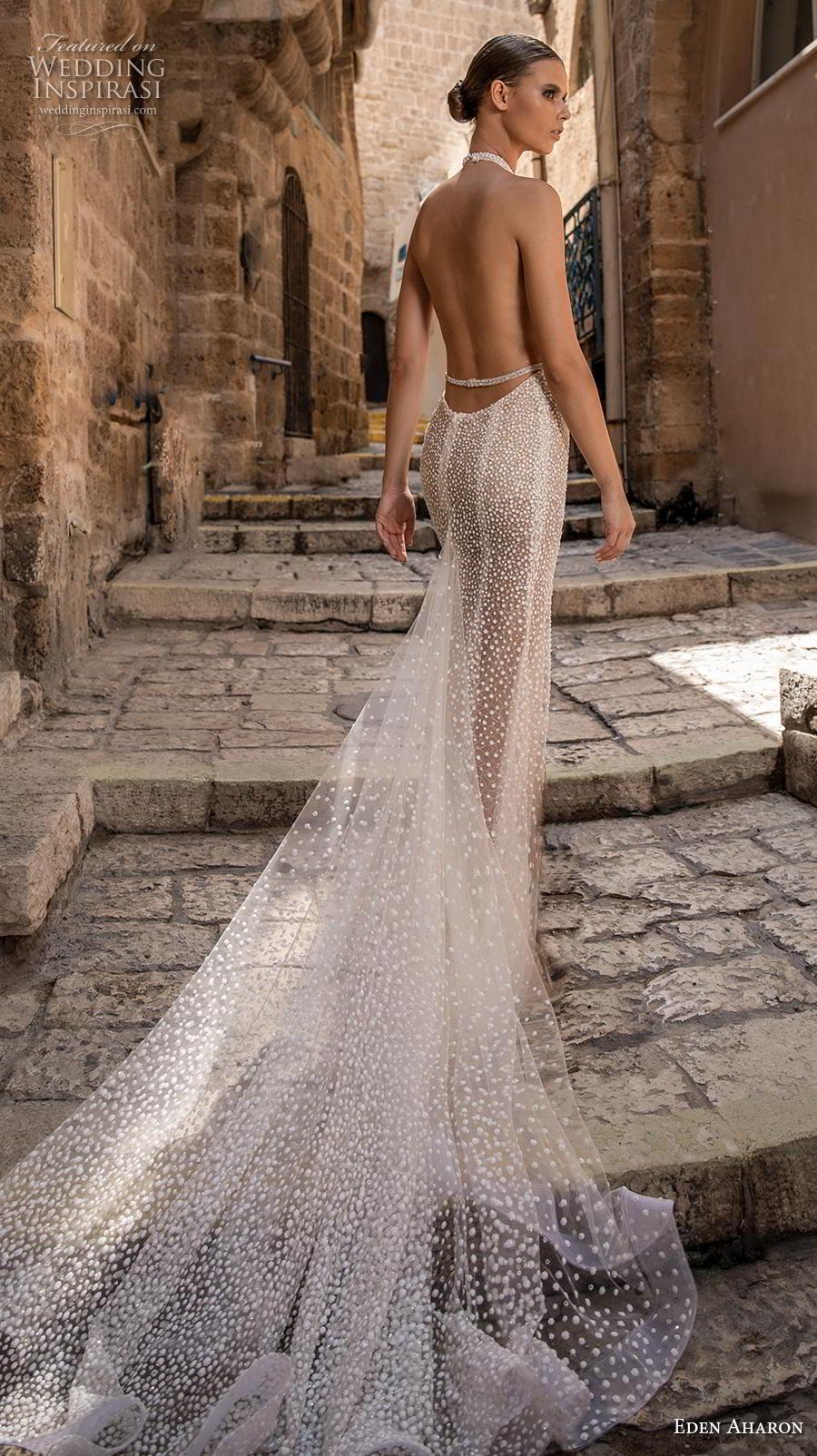 eden aharon 2019 bridal sleeveless halter jewel neck keyhole bodice full embellishment slit skirt glamorous sexy fit and flare wedding dress low open back chapel train (10) bv