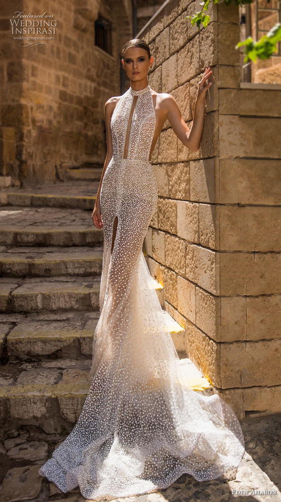 eden aharon 2019 bridal sleeveless halter jewel neck keyhole bodice full embellishment slit skirt glamorous sexy fit and flare wedding dress low open back chapel train (10) mv