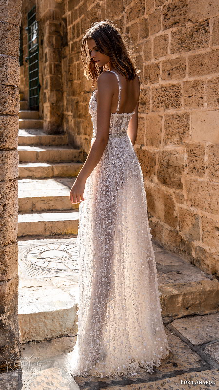 eden aharon 2019 bridal sleeveless thin strap sweetheart neckline full embellishment bustier slit skirt romantic sexy a  line wedding dress sweep train (11) bv