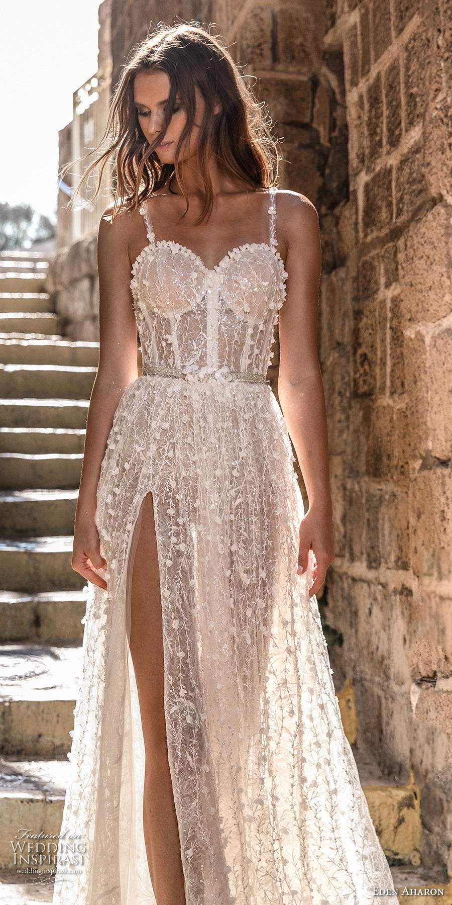eden aharon 2019 bridal sleeveless thin strap sweetheart neckline full embellishment bustier slit skirt romantic sexy a  line wedding dress sweep train (11) lv